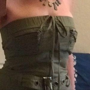 Dresses & Skirts - Khaki cotton strapless dress